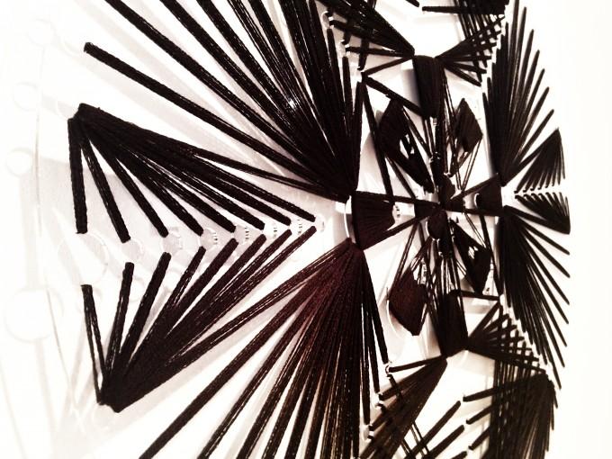 Laser cut Acrylic with cotton thread 27x27' 2013